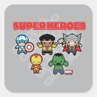 Kawaii Marvel Super Heroes Square Sticker