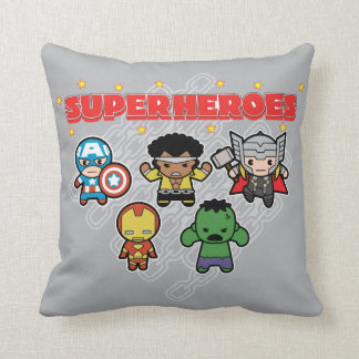Kawaii Marvel Super Heroes Throw Pillow