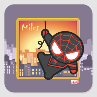 Kawaii Miles Morales City Sunset Square Sticker