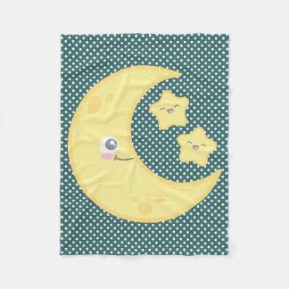 Kawaii Moon and Stars Fleece Blanket
