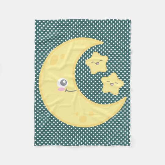 Kawaii Moon and Stars Fleece Blanket