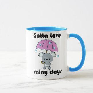 Kawaii Mouse and Umbrella Rainy Days mug