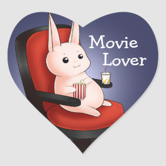 Kawaii movie theater bunny rabbit heart sticker