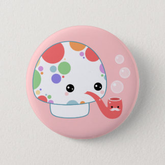 Kawaii Mushroom with Pipe 2 Inch Round Button