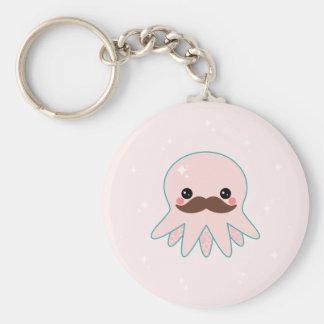 Kawaii Mustache Octopus Keychain