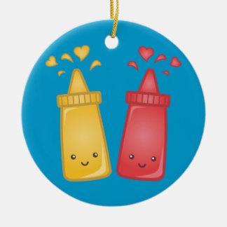 Kawaii Mustard and Ketchup Love Ceramic Ornament