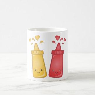Kawaii Mustard and Ketchup Love Classic White Coffee Mug