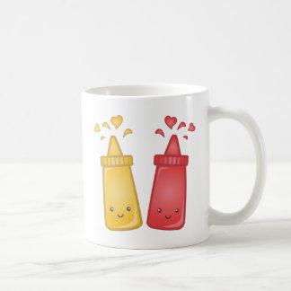 Kawaii Mustard and Ketchup Love Basic White Mug