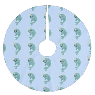 Kawaii Narwhal Brushed Polyester Tree Skirt