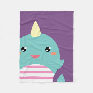Kawaii Narwhal Fleece Blanket