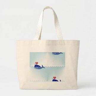 kawaii narwhal large tote bag