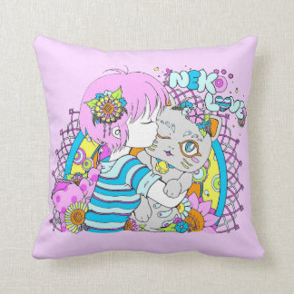 Kawaii neko cat flower manga throw pillow
