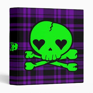 Kawaii Neon Green Skull on Purple Plaid 3 Ring Binders