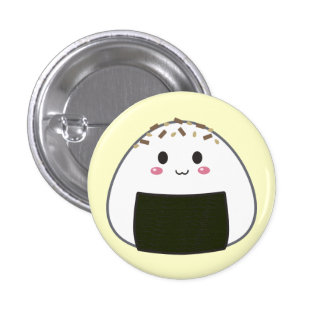 "Kawaii ""Onigiri"" Rice Ball with Toppings 1 Inch Round Button"