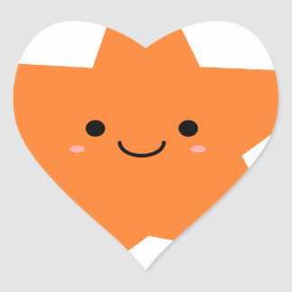 Kawaii Orange Star Heart Sticker