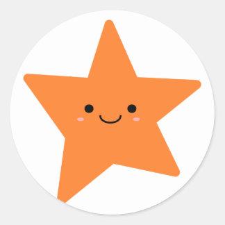 Kawaii Orange Star Round Sticker