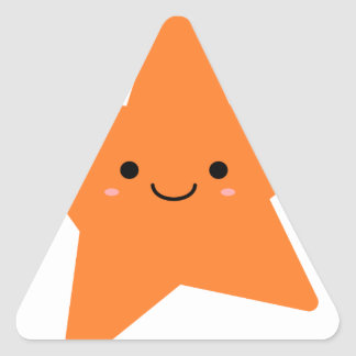 Kawaii Orange Star Triangle Sticker
