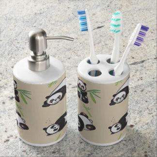 Kawaii Panda Bathroom Soap and Toothbrush Holders Bathroom Set