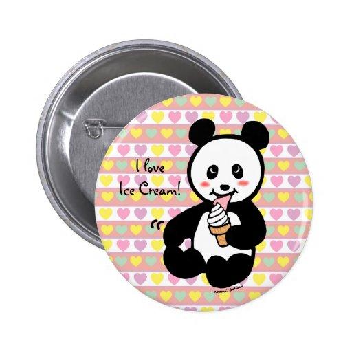 Kawaii Panda Ice Cream Cartoon Pinback Button