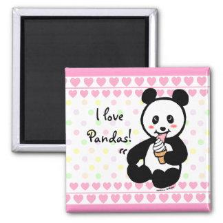 Kawaii Panda Ice Cream Cartoon Hearts Magnet