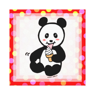 Kawaii Panda Ice Cream Cartoon Polka Dot Canvas Print