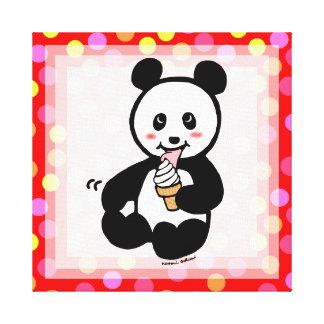 Kawaii Panda Ice Cream Cartoon Polka Dot Gallery Wrap Canvas