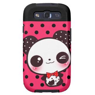 Kawaii panda on black pink polka dots samsung galaxy SIII case