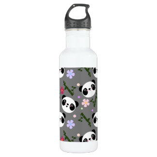 Kawaii Panda on Gray 710 Ml Water Bottle