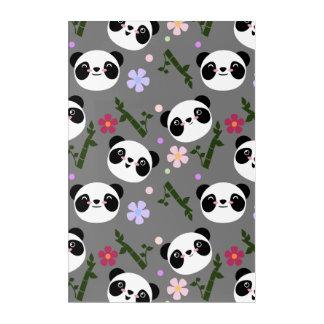 Kawaii Panda on Gray Acrylic Print