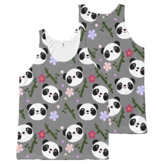 Kawaii Panda on Gray All-Over-Print Tank Top