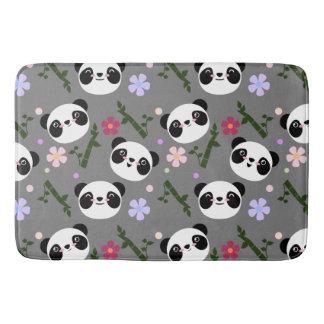 Kawaii Panda on Gray Bath Mat