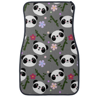 Kawaii Panda on Gray Car Mat