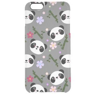 Kawaii Panda on Gray Clear iPhone 6 Plus Case