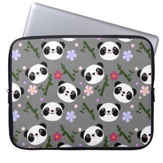 Kawaii Panda on Gray Laptop Sleeve