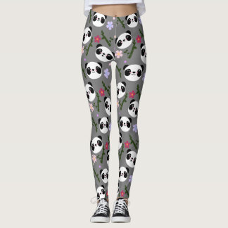 Kawaii Panda on Gray Leggings