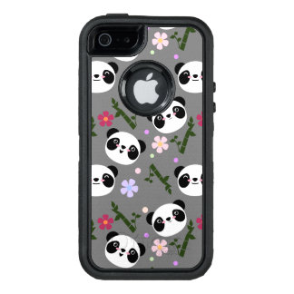 Kawaii Panda on Gray OtterBox Defender iPhone Case