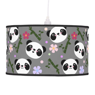 Kawaii Panda on Gray Pendant Lamp