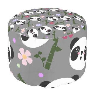 Kawaii Panda on Gray Pouf
