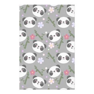Kawaii Panda on Gray Stationery