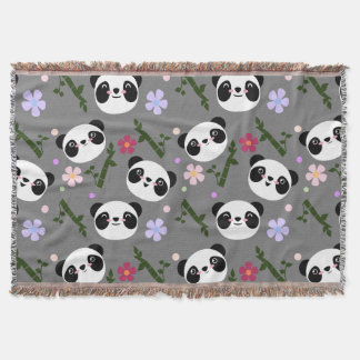 Kawaii Panda on Gray Throw Blanket