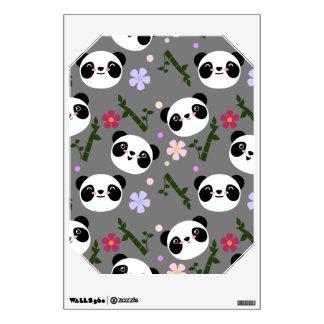 Kawaii Panda on Gray Wall Sticker