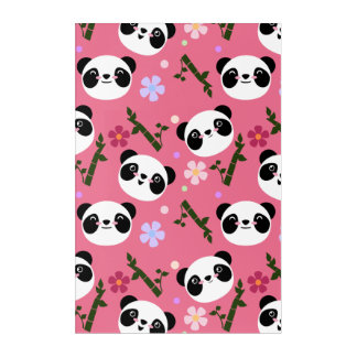 Kawaii Panda on Pink Acrylic Print