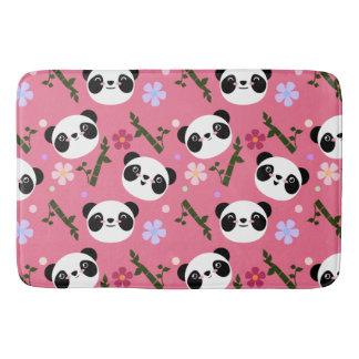 Kawaii Panda on Pink Bath Mat