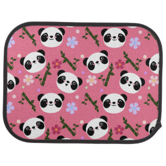 Kawaii Panda on Pink Car Mat