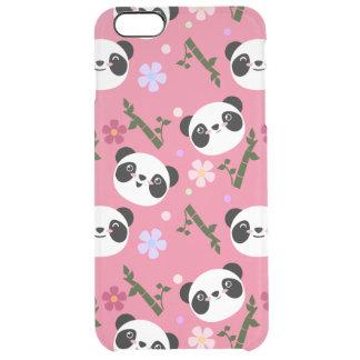 Kawaii Panda on Pink Clear iPhone 6 Plus Case