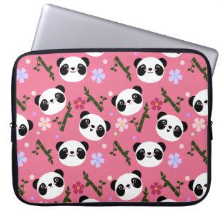 Kawaii Panda on Pink Laptop Sleeve