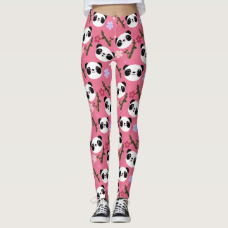 Kawaii Panda on Pink Leggings