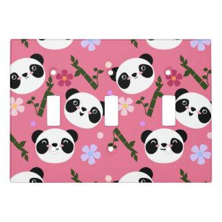 Kawaii Panda on Pink Light Switch Cover