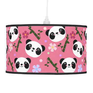 Kawaii Panda on Pink Pendant Lamp
