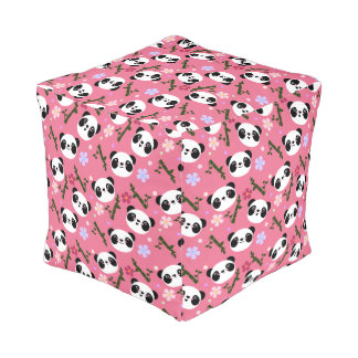 Kawaii Panda on Pink Pouf